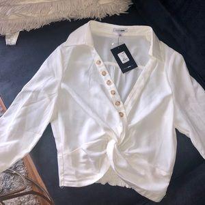 Fashion Nova Long Sleeve Crop Top Blouse